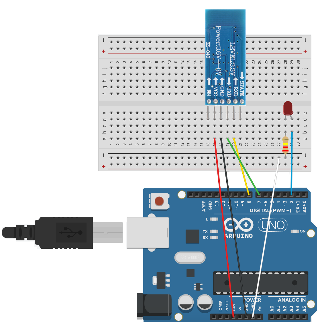 Controlling An Led Light Using A Mobile App And Bluetooth Codemahal Circuit Diagram Breadboard